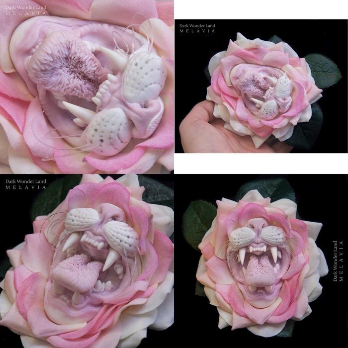 Котейка цветок, бархатный лепесток. Цветы, Кот, Рукоделие, Своими руками, Рукоделие без процесса, Кошмар, Зубы, Язык, Длиннопост