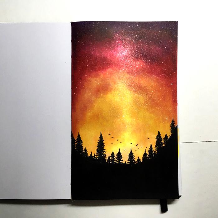 Закат Маркер, Рисунок, Творчество, Закат, Небо, Звездное небо, Лес