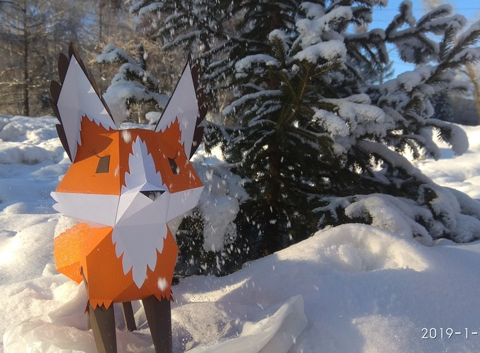 Как я подарочную лису делал Papercraft, Рукоделие с процессом, Methakura, Лиса, Длиннопост