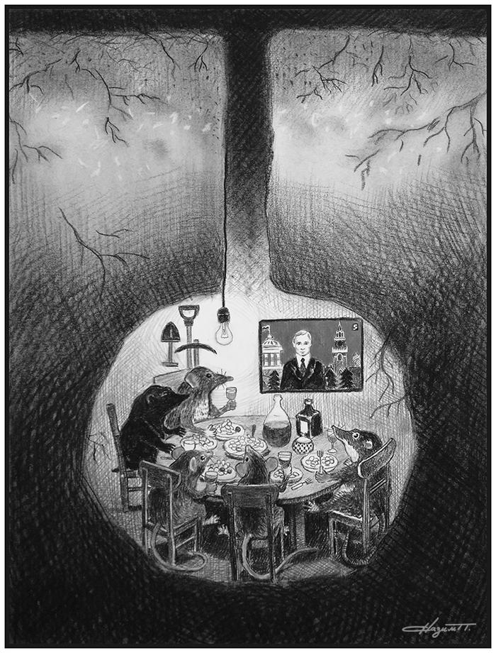 Новогодняя ночь у крота Рисунок, Графика, Новый Год, Уголь, Животные, Нора, Рисунок углем