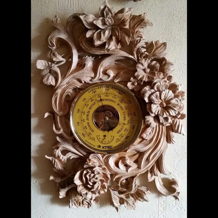 Оформление барометра своими руками. Материал - липа. Резьба, Резьба по дереву, Барокко, Барометр, Wood, Дерево, Для, Длиннопост