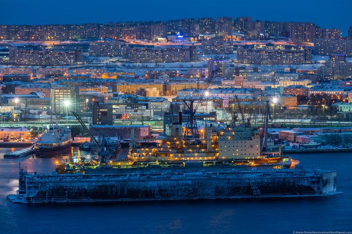 Яркий свет полярной ночи 2019, Мурманск, Огни большого города, Ночь, Освещение, Полярная, Полярная ночь, Путешествия, Длиннопост