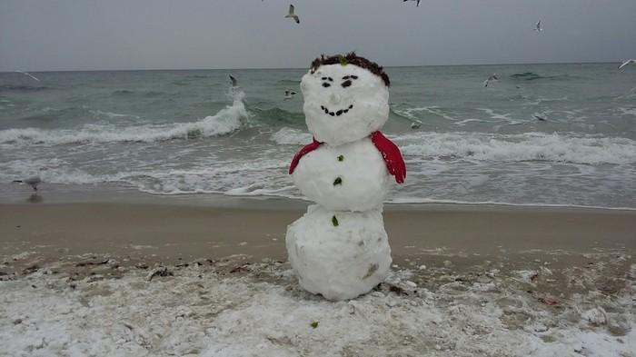 Морской снеговичёк. Море, Зима