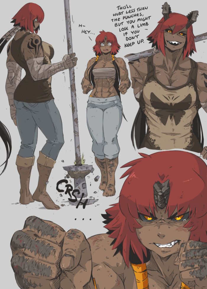 Alexi and Hanna. Hard training. Hushabyevalley, Vindicator, Крепкая девушка, Monster Girl, Арт, Длиннопост