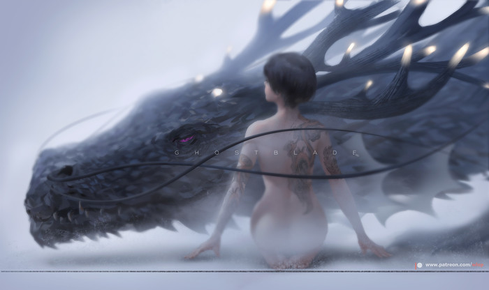 Trapped Wlop, Арт, Ghostblade, Девушки, Дракон, Длиннопост, Барс, Змея, Ворон