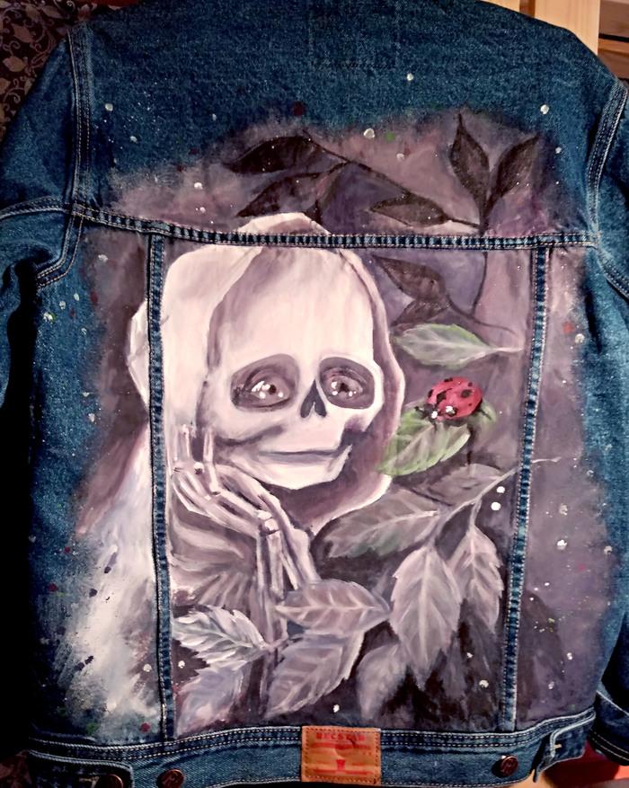 Роспись джинсовой куртки Акрил, Смерть, Белая, Арт, Ручная работа, Рукоделие без процесса