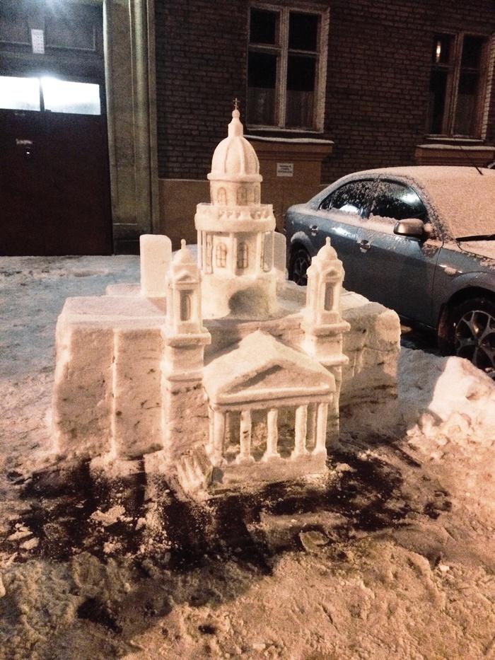 Снежный Исаакий Снег в Питере, Снежное чудо, Мастер, Длиннопост