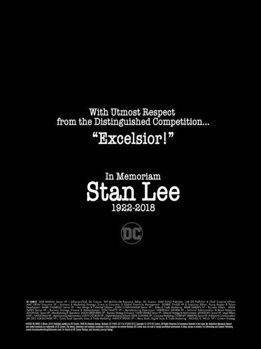 Издательство DC в одном из новых комиксов посвятило страницу Стэну Ли.