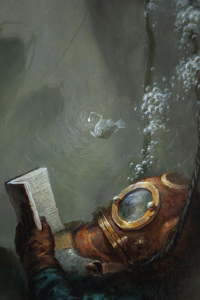 Enjoy The Silence Живопись, Под водой, Enjoy the silence, Глубина, Тишина, Спокойствие, Длиннопост, Картина маслом, Картина