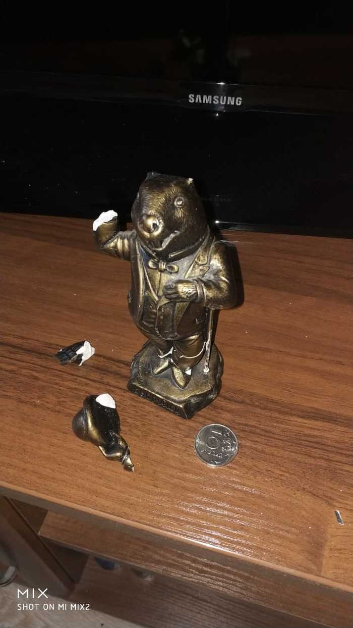 Разбилась статуэтка Бобруйск, Статуэтка, Бобры, Длиннопост