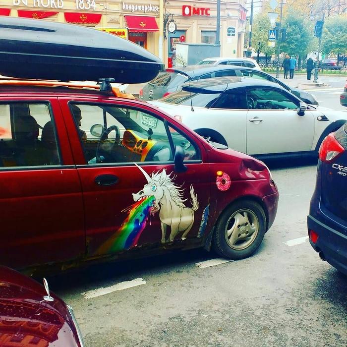 Единорожка Единорог, Аэрография, Санкт-Петербург, Радуга, Счастье, Машина