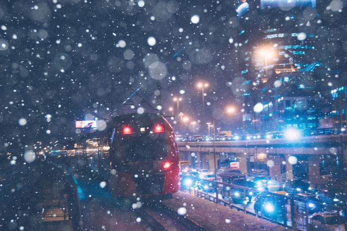 Москва-Сити Москва, Снег, Метель