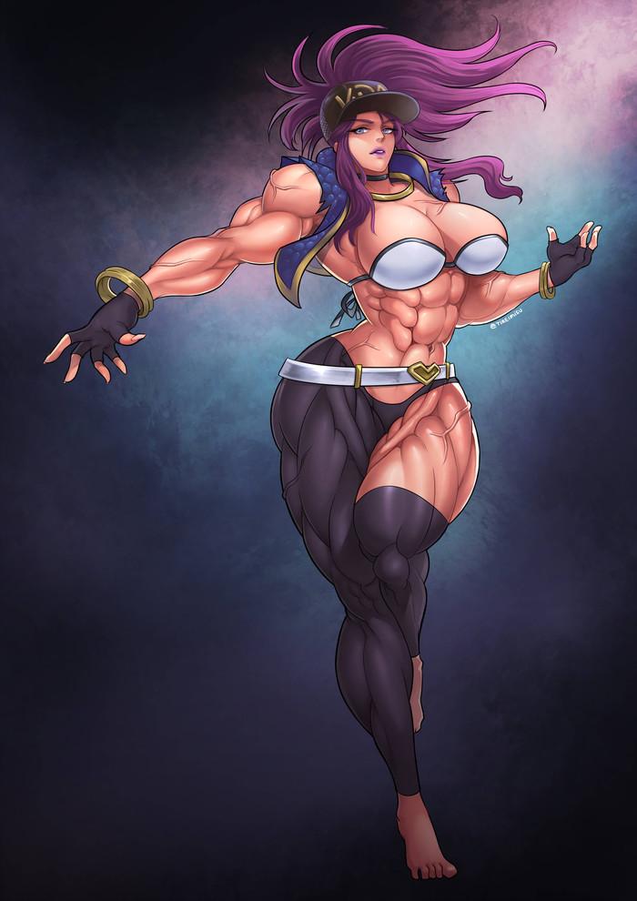 K/DA Akali Tireimisu, Крепкая девушка, Сну-Сну, Арт, Akali, Kda, League of Legends, Девушка-Бодибилдер