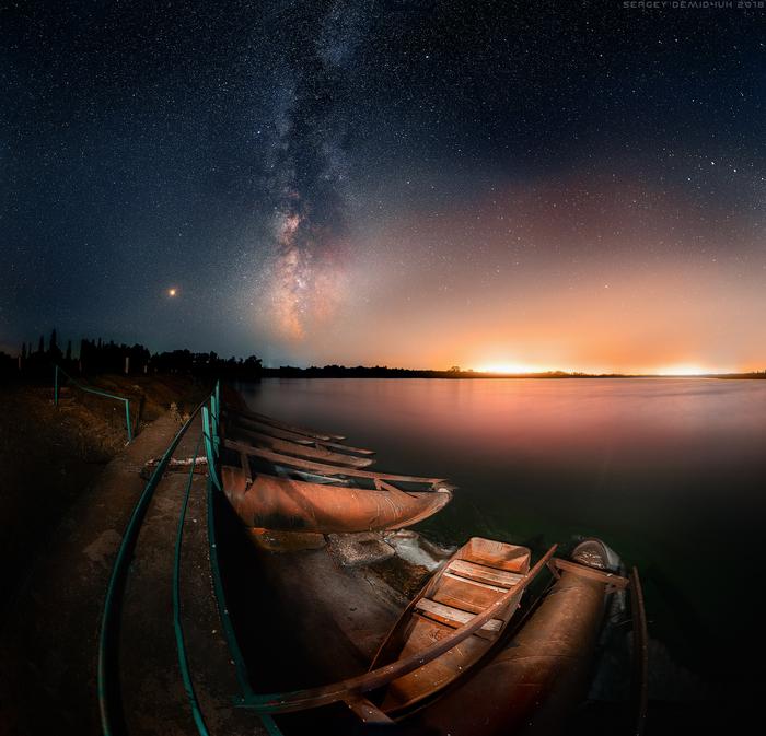 Красинское водохранилище. Лето 2018. Фотография, Астрономия, Пейзаж, Млечный путь, Водохранилище, Планеты и звезды, Ночь, Лодка