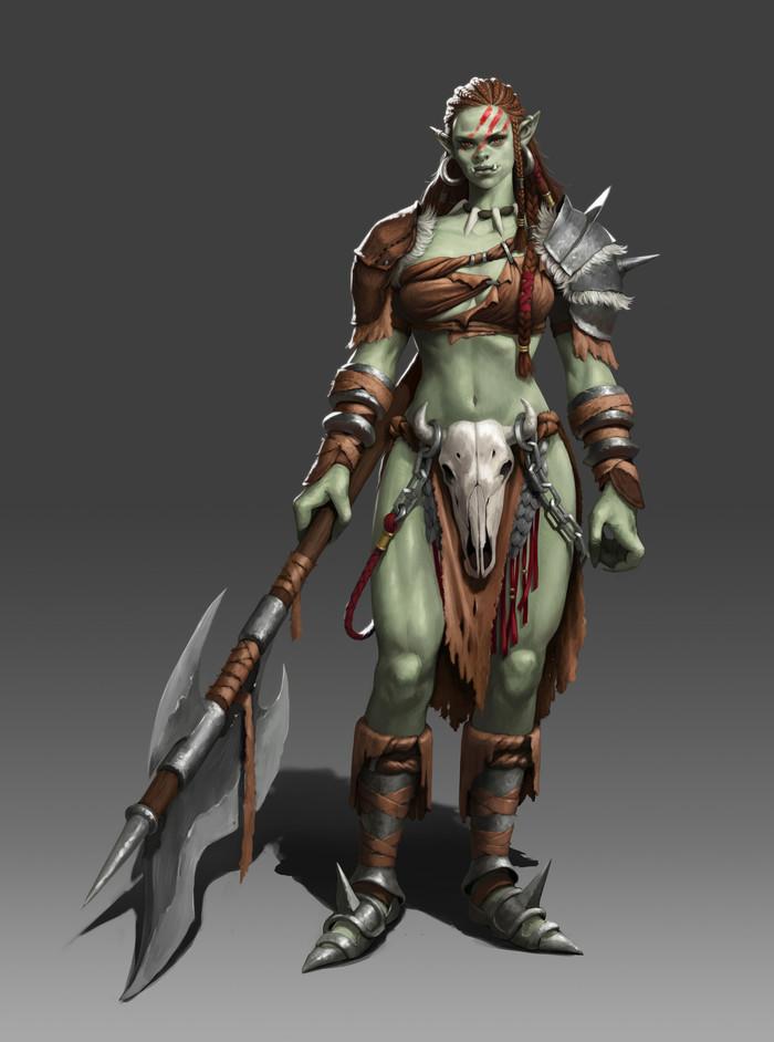 Orc girl Mintbrush, Арт, Крепкая девушка, Фэнтези, Monster Girl, Орки, Зеленокожие, Воительница