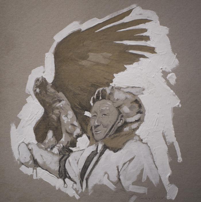 """Рисую понемногу акрилом и кофе. """"Портрет с орлом"""""""
