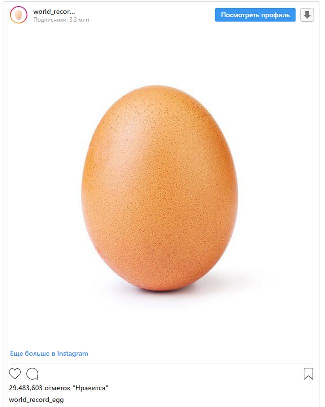 Куриное яйцо обставило моделей, котиков и Кардашьян в Instagram Instagram, Рекорд, Куриное яйцо, Кардашьяны, Кайли Дженнер, Длиннопост