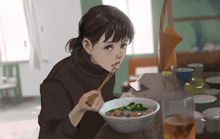 Холодный завтрак. Портрет, Девушки, Арт, Digital, Rui Li