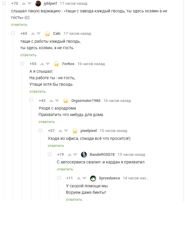 Ветка клептоманов Клептомания, Прикол, Воровство, Комментарии на Пикабу, Комментарии, Скриншот
