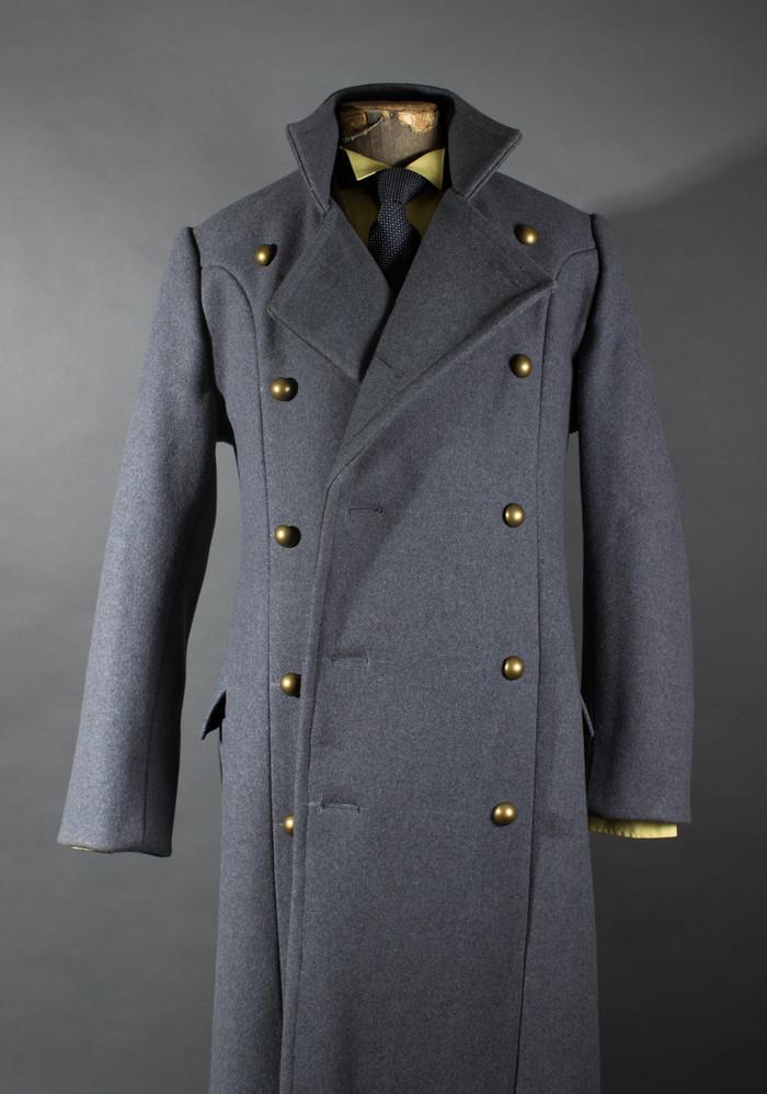 Серое пальто со стойкой Мужская одежда, Пальто, Шинель, Костюм, Необычная одежда, Рукоделие без процесса, Длиннопост
