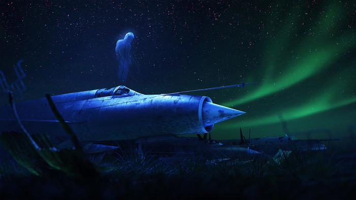 Душа пилота Арт, Рисунок, Душа, Призрак, Пилот, Самолет, Северное сияние