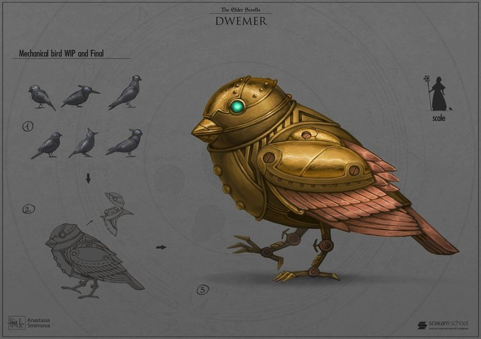 Двемерский воробушек Арт, Картинки, The Elder Scrolls, Двемеры
