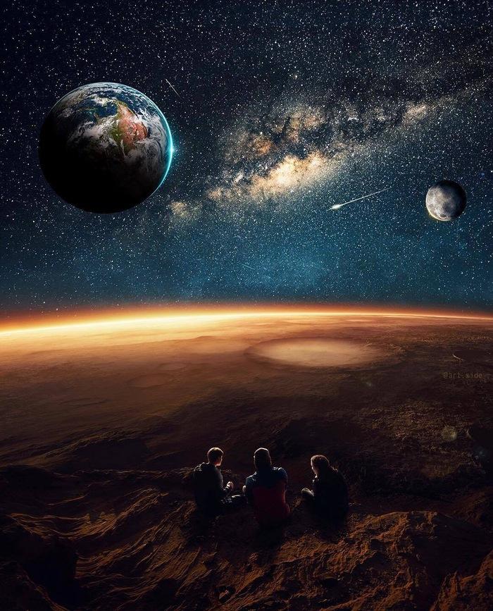 Космос Фотография, Photoshop, Космос, Планета, Земля, Марс, Луна, Huseyin Sahin