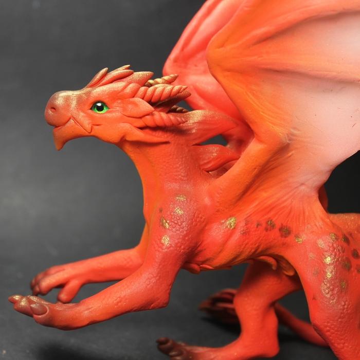 Красный Рукоделие без процесса, Лепка, Полимерная глина, Дракон, Handmade, Ручная работа, Длиннопост