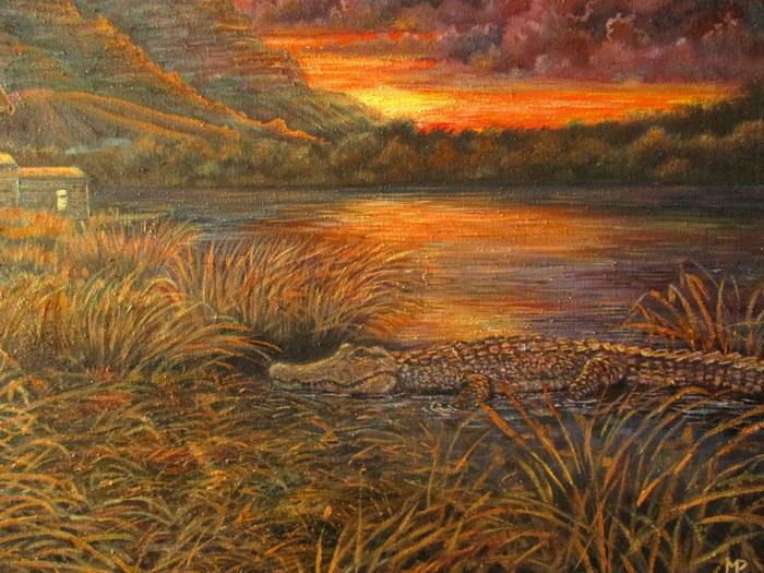 Озеро Картина, Масло, Закат, Горы, Озеро, Всадник, Крокодил, Картина маслом
