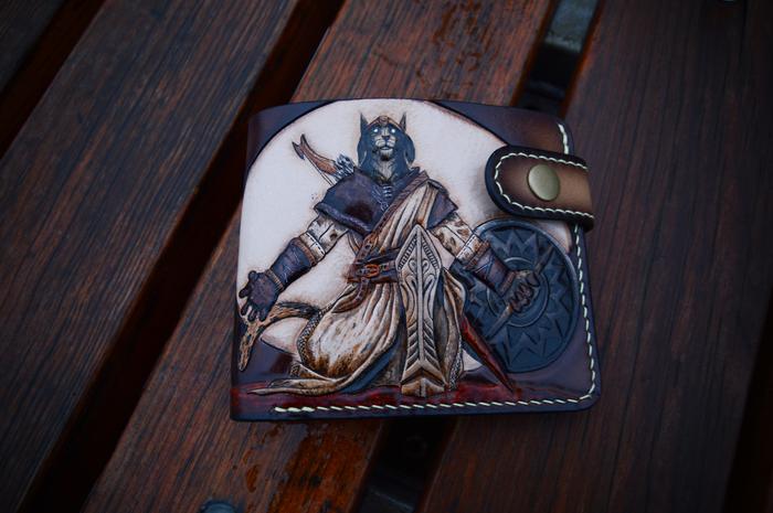 Каджит. Кошелек. The Elder Scrolls, Morrowind, Skyrim, Каджит, Скума, Кошелек, Тиснение по коже, Длиннопост
