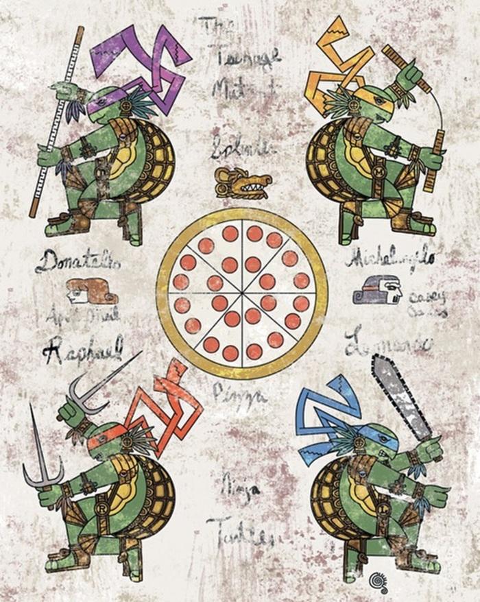 Популярные персонажи в доколумбовом стиле Арт, Ацтеки, Подборка, Jorge Qetza, Длиннопост, Персонажи