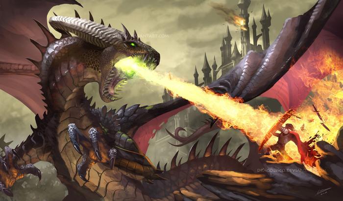 Maleficent winsby Арт, Дракон, Огонь, Dragolisco, Фэнтези