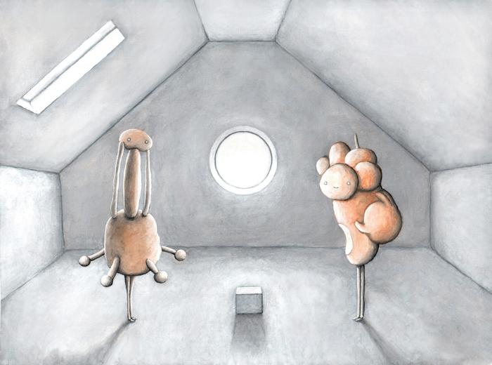 Два человека на чердаке Чердак, Люди, Коробка, Гуашь, Картина, Иллюстрации