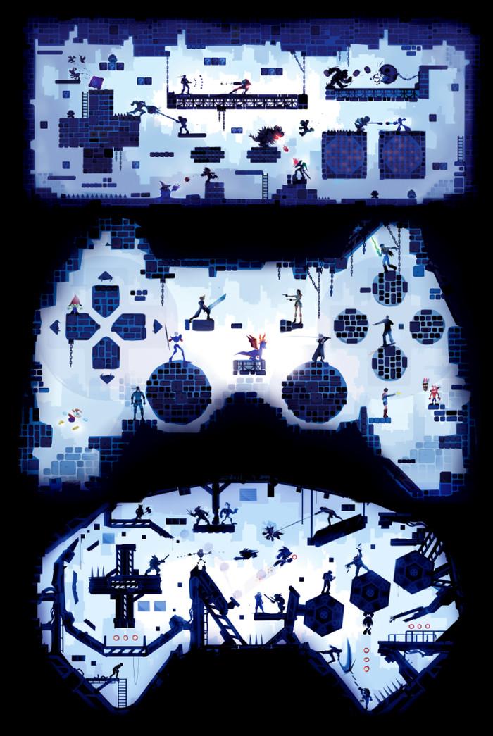Combat Controllers Арт, Игры, Dendy, Nes, Playstation 1, Sega Mega Drive, Chasingartwork