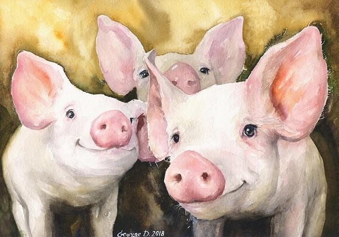 """""""Друзья"""" и """"Мама"""". Акварель :) Акварель, Картина, Милота, Улыбка, Животные, Глаза, Рисунок, Свинья, Длиннопост"""