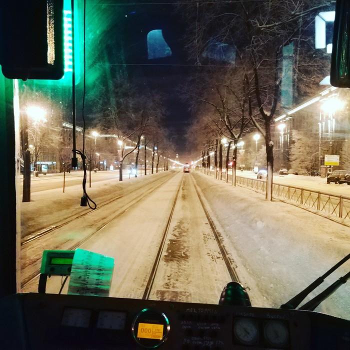 А как начинается ваш день? Доброе утро, Вид из кабины, Трамвай, Санкт-Петербург, Зима, Московский проспект