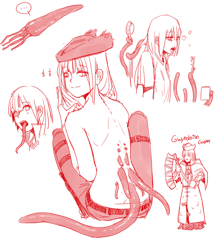 ByHUQU Huqu, Игры, Bloodborne, Арт, Рисунок, Тентакли, Lady Maria, Anime Art