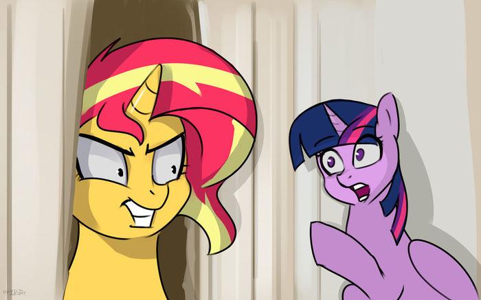 It's me, Sunset! My Little Pony, Sunset Shimmer, Twilight Sparkle, Hardbrony, Сияние, Понификация