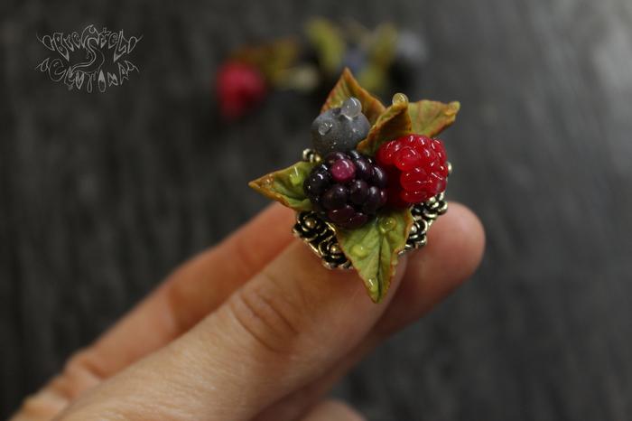 Приятная мелочь (кольцо, серьги-гвоздики) Полимерная глина, Черника, Малина, Кольцо, Серьги, Длиннопост
