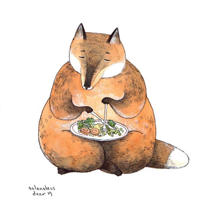 Лиса-вегетарианка Лиса, Иллюстрации, Рисунок, Арт, Акварель, Овощи, Графика, Животные