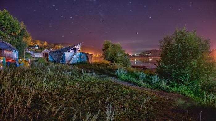 Ночь у заброшенной лодочной станции Ночь, Звёзды, Усть-Катав