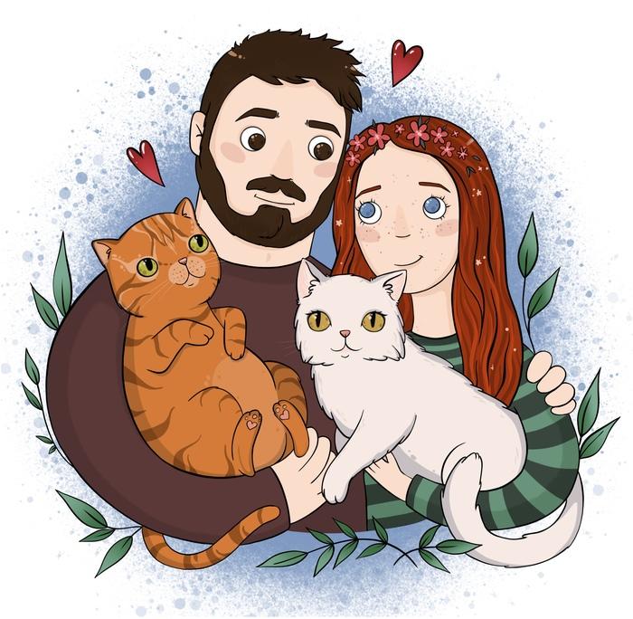 Ещё порция любви от меня :) Портрет, Семья, Любовь, Иллюстрации
