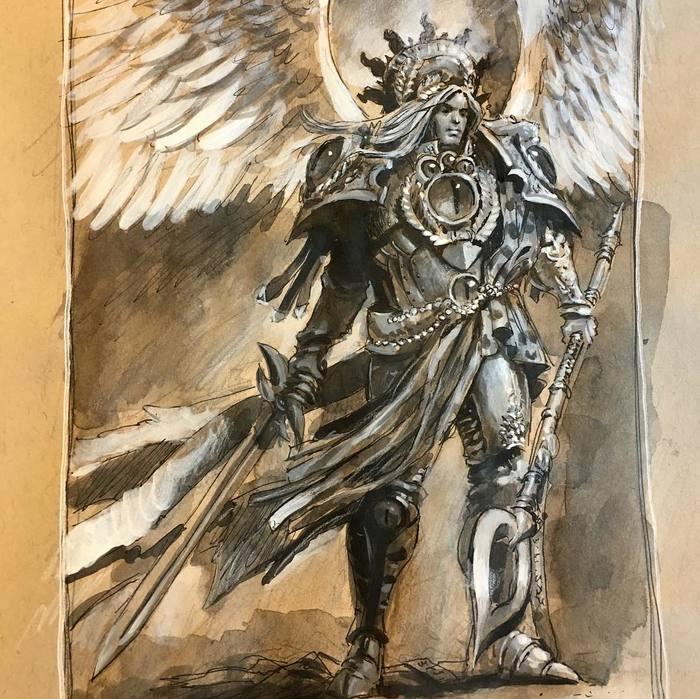Сангвиний Warhammer 40k, Horus Heresy, Sanguinius, Арт, Рисунок, Wh Art