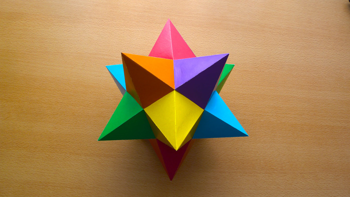 Малый звёздчатый додекаэдр из картона. Многогранник, Рукоделие с процессом, Додекаэдр, Видео, Своими руками, Длиннопост