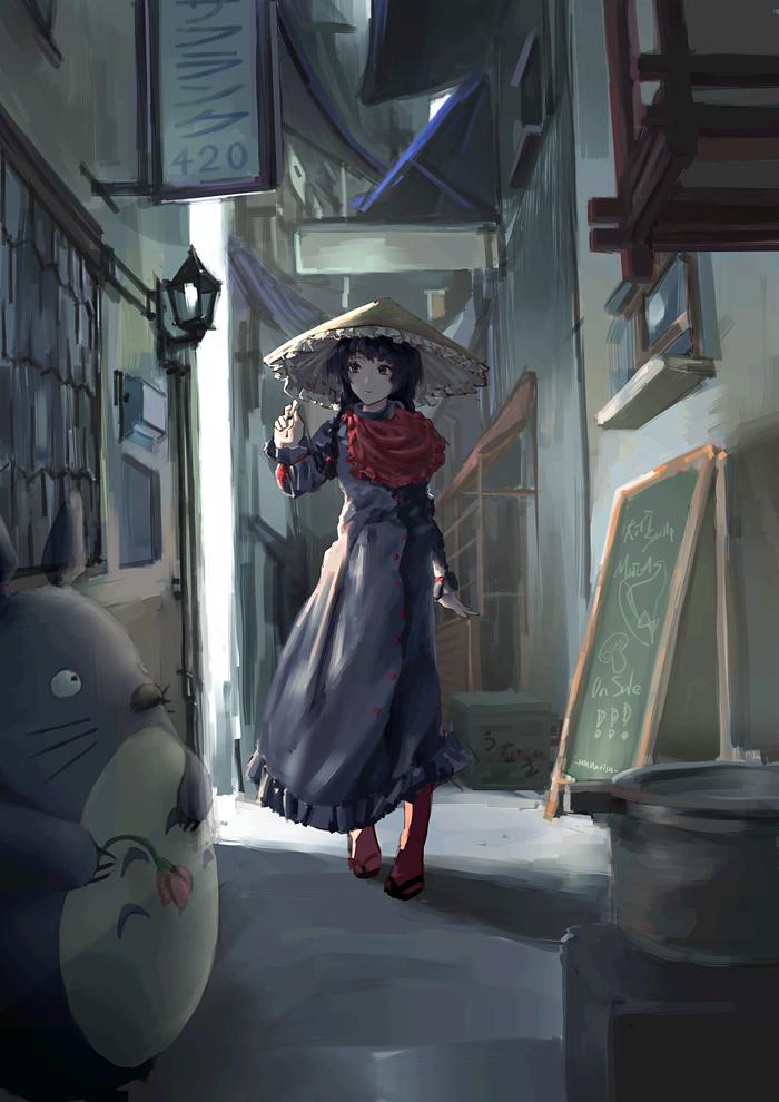 Yatadera Narumi Touhou, Anime Art, Аниме, Yatadera Narumi, Mmmarisa, Тоторо, Crossover