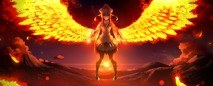 The Angel of Fire Doki doki literature Club, Monika, Anime Art, Digital, Визуальная новелла, Игры
