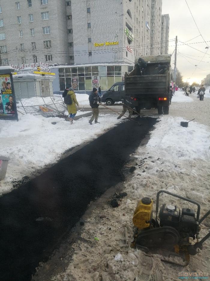 Интересный способ борьбы со снегом в Петербурге Санкт-Петербург, Снег, Асфальт