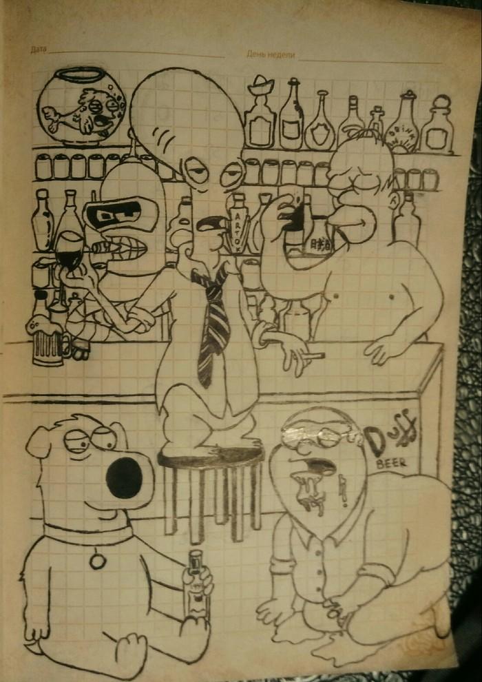 Мультибар Мультфильмы, Гриффины, Футурама, Американский папаша, Симпсоны, Рисунок
