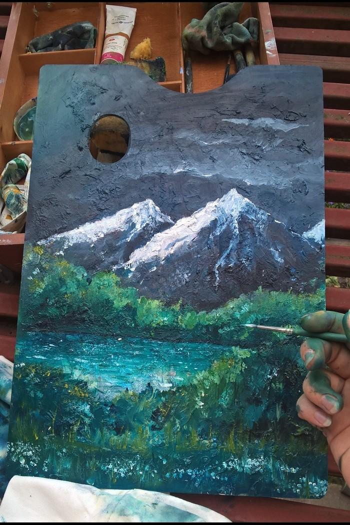 Летние горы на старой палитре