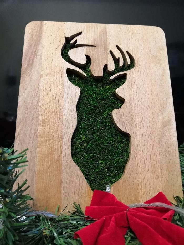 Подарок жене из мха и доски Своими руками, Рукоделие без процесса, Длиннопост, Доска, Олень, Резьба по дереву